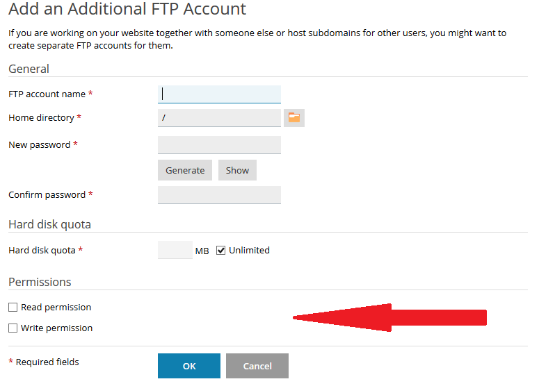 How to give write permission to FTP account in Plesk? | Web